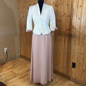 NWT Talbots 2PC Formal Lace Top & Blush Silk Skirt